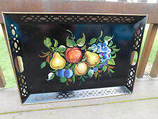 vintage black metal toleware serving tray tole hand painted signed tin floral