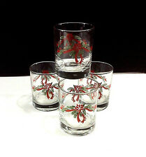 Anchor Hocking Christmas 4 Double Rocks Glasses  Rosetta & Ribbons12.5  Ounce