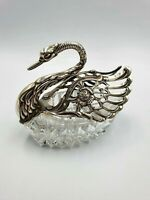 Large Vintage Solid Silver And Cut Glass Swan Dish Fully Hallmarked,