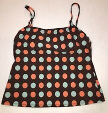 Island Escape Brown Polkadot Tankini Top Size 12 Swimsuit