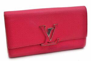 Auth Louis Vuitton Taurillon Portefeuille Capucines Wallet Pink M62367 LV 72714