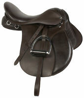 16 17 18 in BROWN LEATHER ALL PURPOSE ENGLISH HORSE RIDING SADDLE TACK STIRRUPS