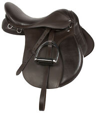 16 17 18 BROWN LEATHER ALL PURPOSE ENGLISH HORSE RIDING SADDLE TACK STIRRUPS