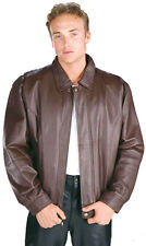 NEW MENS Size SMALL BROWN LEATHER BOMBER STYLE DRESS JACKET Zipout lining