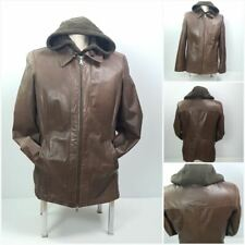 Danier Men L Leather Jacket Hooded Fleece Detachable Vest Brown