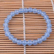 Gemstone Round Beads Bracelets Blue Chalcedony Fashion Women Jewelry 8mm