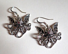 STEAMPUNK Baby CTHULHU Winged Octopus SEA CREATURE Victorian EARRINGS SILVER