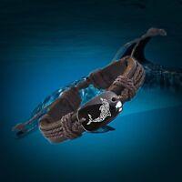 Love Dolphin Vegan Leather Adjustable Bracelet Free Shipping USA Seller