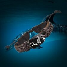 Love Dolphin Leather Adjustable Bracelet Free Shipping USA Seller