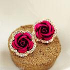 New Korean Style Fashion Lady Red Alloy Rhinestone Rose Shape Ear Stud Earrings