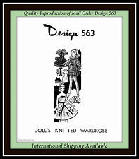 Barbie® DOLL WARDROBE 11½ Knitting VTG Design 563 Gown, Coat, Hat and more CRAFT