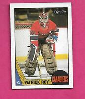 1987-88 OPC # 163 CANADIENS PATRICK ROY 2ND YEAR NRMT-MT CARD (INV# D2038)
