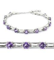 Amethyst sterling silver link bracelet BRL250005