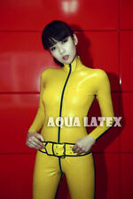 Unisex Latex Kill Bill Catsuit, Rubber Catsuit Zentai Costume with Belt