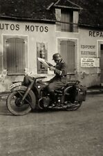 WW2 Photo WWII German Soldier on Motorcycle   World War Two Wehrmacht / 2464