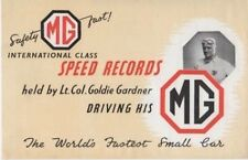 Mg Midget Td internacional velocidad Records Goldie Gardner Folleto Original 1951