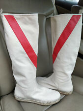 Hermes Canvas Espadrilles Knee Boots High Shoes White Ivory Scarlet Stripe Flat