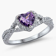 USA Seller Infinity Heart Ring Sterling Silver 925 Jewelry Amethyst CZ Size 9