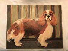 """Beautiful Cavalier King Charles Spaniel Dog Painting 14x12"""" Over 30 years old"""