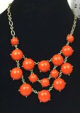 Gold Colored Chain Orange Bead Necklace Costume Jewelry