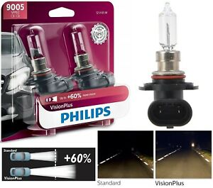 Philips VIsion Plus 60% 9005 HB3 65W Two Bulbs Head Light Low Beam Replacement