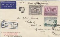 APH200) Australia 1936 small airmail Registered Advertising Cover Sydney – Czech