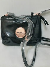 Mimco Leather SECRET Couch Hip Across body Bag Black Rosegold BNWT Free postage