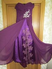 Romantic Angel wine beaded ballgown prom bridesmaid strapless dress Small exc