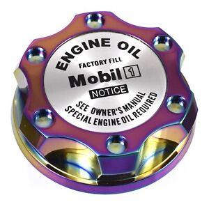 V2 Neo Chrome Billet Oil Cap Filler Silver Mobil 1 For Nismo GTR 350z 370z 240SX