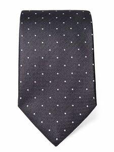 Grey Silk Tie with White Spots