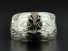 "Unisex Haida Grizzly Bear Cuff Bracelet 1.5"" Wide Northwest Coast Native Art"