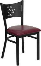 Lot of 20 Metal Restaurant Coffee Design Café Chairs with Burgundy Vinyl Seat