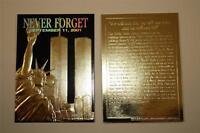 WORLD TRADE CENTER 9/11 First Anniversary 2002 Black Gold Card NM-MT * BOGO *