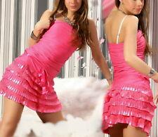 SeXy Miss Damen Bandeau Mini Kleid PettiCoat Volant Spitze Satin pink 36 38 40