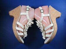 Nurture Women 8.5 M White Leather Sandals Brazil Cork Wedge Heel