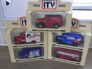 Lledo complete set of 5 Promotional Models, 40 Years of ITV, LP58-59-63-71-75