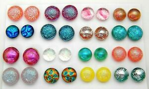 FOR POST EARRINGS TINY Lot 32 pcs round gorgeous DICHROIC FUSED GLASS (i9) CAB