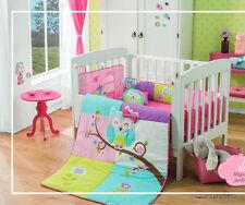 Owl Crib Bedding Set Sheet 6PC Comforter Bumper HeadBoard Forest Zoo Pink Baby *