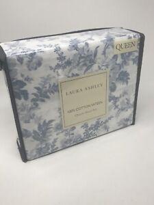 Laura Ashley Vanessa 4 pc Queen Sheet Set - 100% Cotton Sateen - 300 TC