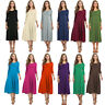 Women Pleated Loose Swing Casual T Shirt Dress Party Tunic 3/4 Sleeve MIdi Dress