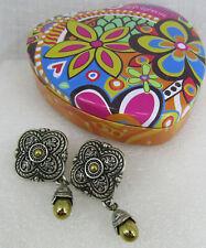 Brighton Silver plated Gold Medallon Dangle Earrings