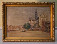 Kleines Ölgemälde Groote Markt Haarlem Holland 1941 signiert