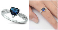 Sterling Silver 925 BLUE SAPPHIRE CZ HEART DESIGN ENGAGEMENT RING 7MM SIZES 5-10