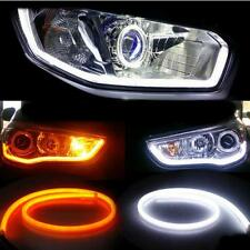 New 60CM Flexible Tube Headlight Car LED Strip White DRL Amber Turn Signal Light