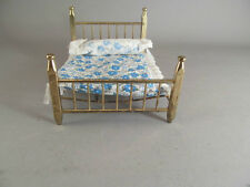 Vintage Doll House Furniture Miniature Brass Bed With Mattress & Pillow