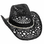 Dorfman Pacific Womens Straw Country Western Cowgirl Hat w/ Glass Beads