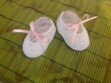 Crochet Baby Shoes Baby Booties Doll Shoes White with Pink Bow