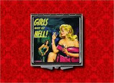 GIRLS OUT OF HELL PIN UP GIRL SMOKING PULP FICTION COVER MAKEUP COMPACT MIRROR