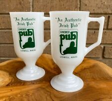 Limerick Pub Irish Coffee Milk Glass Pair Of Mugs Lowell Mass