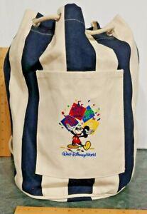 Walt Disney World Resort Navy Blue Natural Canvas Beach Bucket Bag Backpack